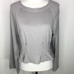 Current Air Gray Long Sleeve Cropped Top Sz Med